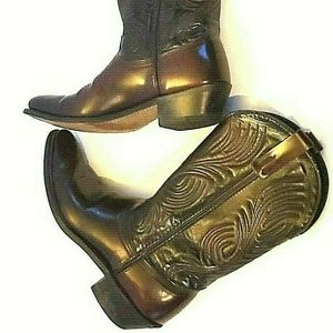 Size 9 D Brown Burgundy Mens Leather Cowboy Boots